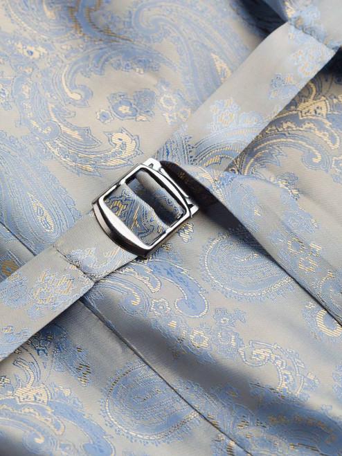 Close Up of Mist Blue Harris Tweed Waistcoat Lining