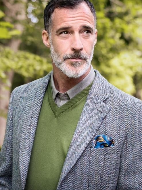 Model Wearing Lovat Green Harris Tweed Jacket