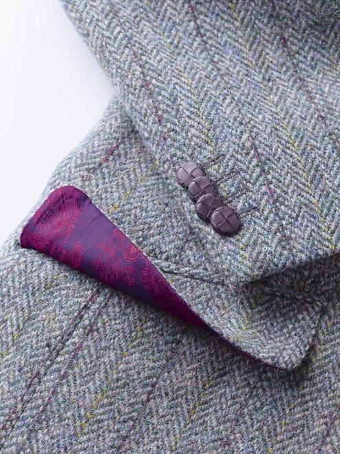Close Up of Lovat Green Harris Tweed Jacket Fabric