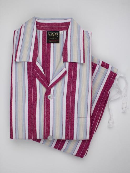 Red Woven Stripe Mens Pyjamas
