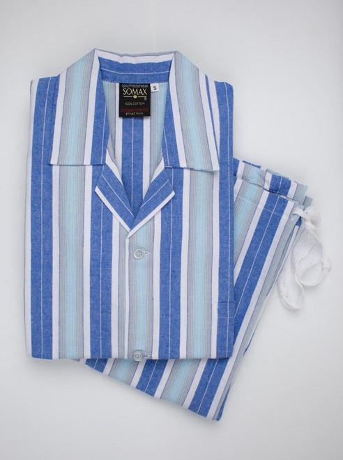 Blue Woven Stripe Mens Pyjamas