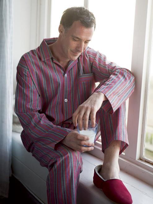 Model wearing Red Fine Cotton Striped Pyjamas