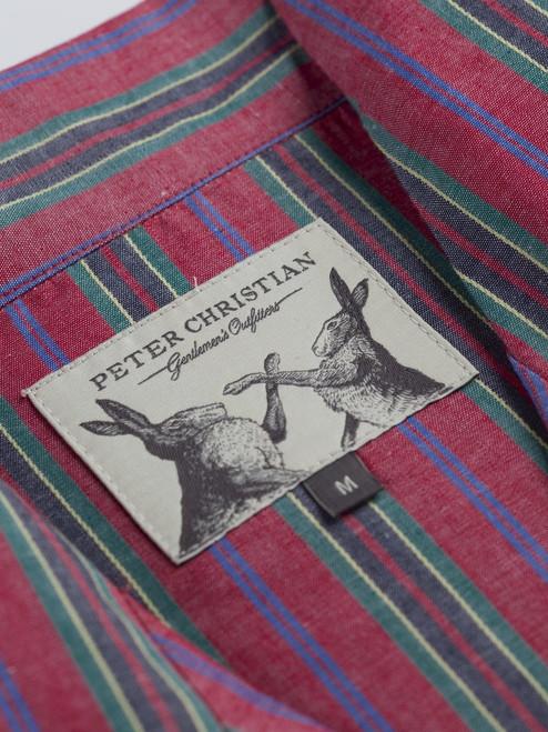 Close up of Red Fine Cotton Striped Pyjamas fabric