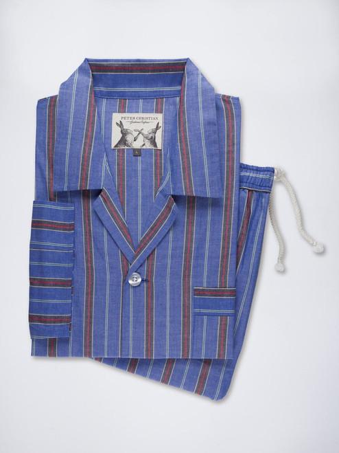 Mens Blue Fine Cotton Striped Pyjamas