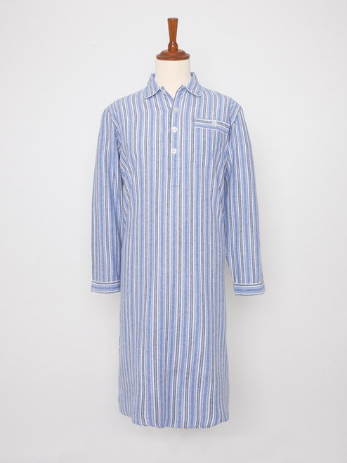 Image of Mens Blue Cotton Traditional Nightshirt
