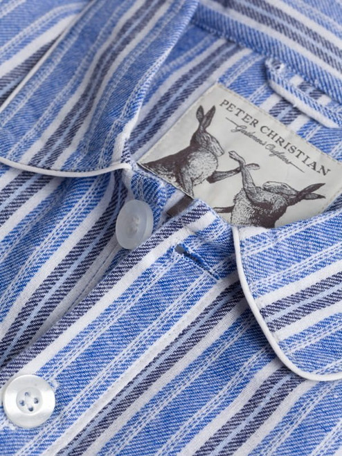 Close Up of Mens Blue Cotton Traditional Nightshirt