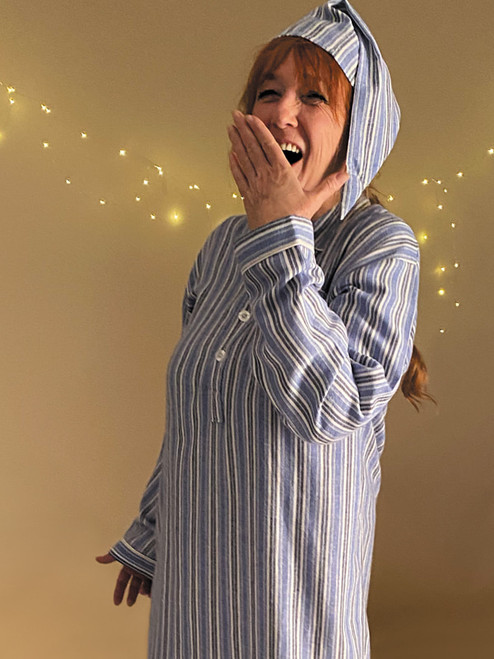 Image of Women's Blue Cotton Traditional Nightshirt and Cap