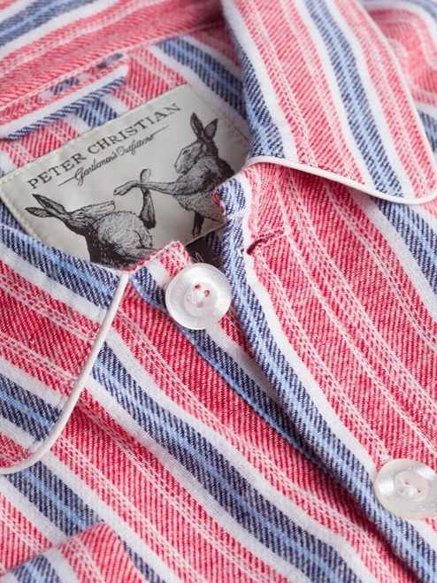 Close Up of Mens Red Cotton Traditional Nightshirt Fabric