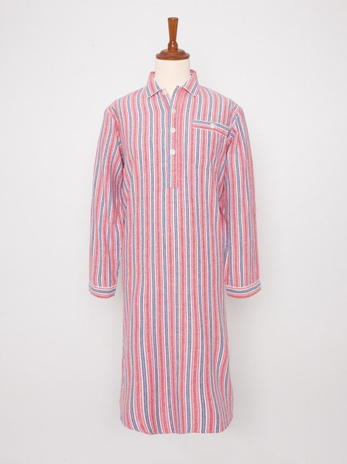 Image of Mens Red Cotton Traditional Nightshirt and Cap