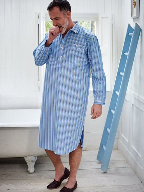 Image of Mens Blue Cotton Nightshirt and Cap