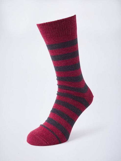 Burgundy Striped Mohair & Merino Socks