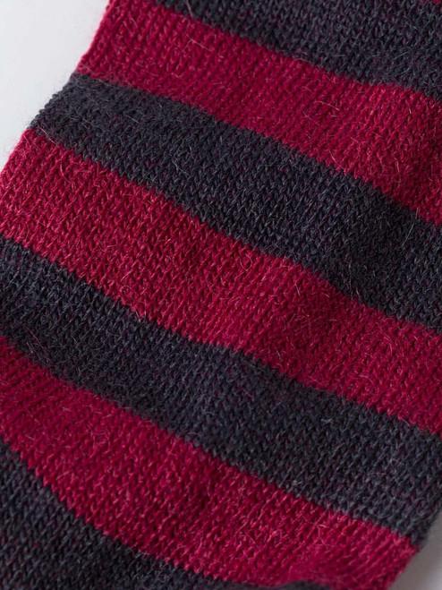Detail of Burgundy Striped Mohair & Merino Socks