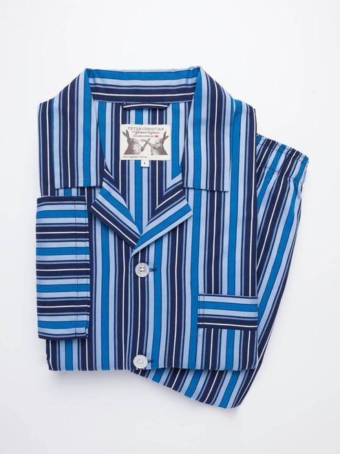 Folded Navy & Blue Club Striped Mens Pyjamas