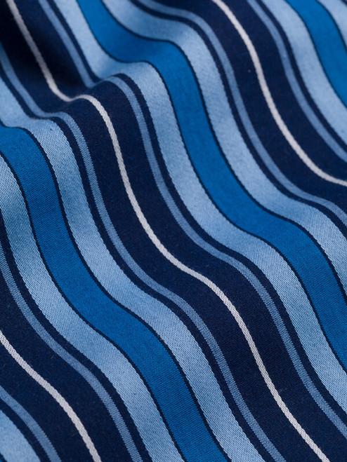 Close Up of Navy & Blue Club Striped Mens Pyjamas Fabric