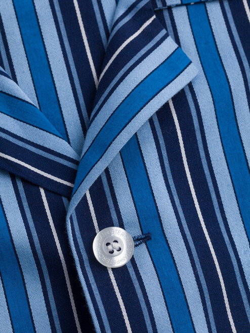 Close Up of Navy & Blue Club Striped Mens Pyjamas Collar