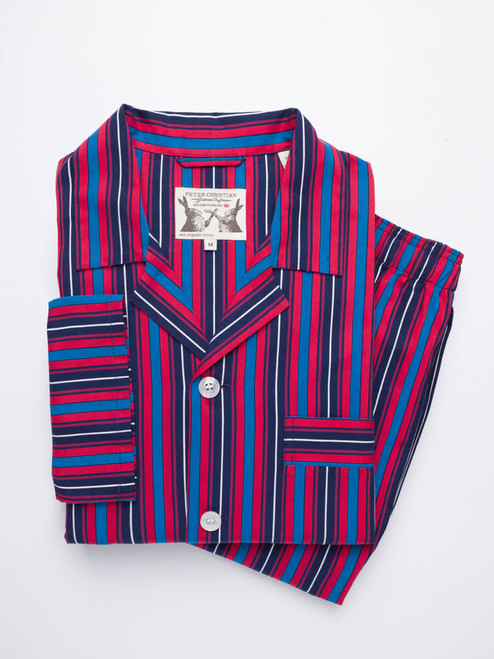 Folded Navy & Red Club Striped mens Pyjamas