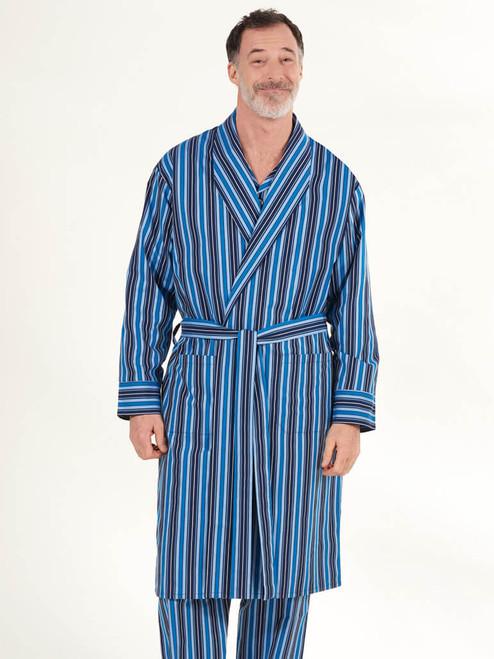Model wearing Navy & Blue Club Stripe Mens Dressing Gown