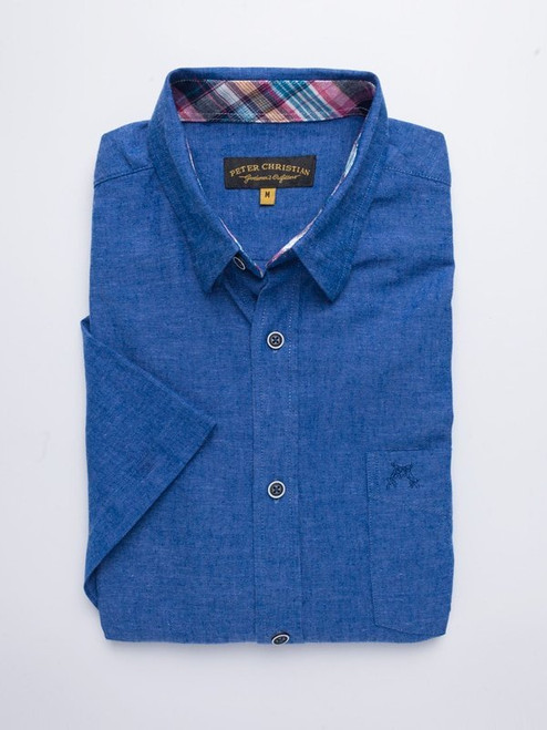 Folded Image of Blue Short Sleeve Linen and Cotton Shirt