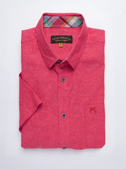 Folded Image of Coral Red Short Sleeve Linen and Cotton Shirt
