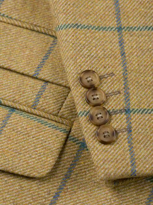 Close Up of Barley Gold Action Back Tweed Jacket Fabric