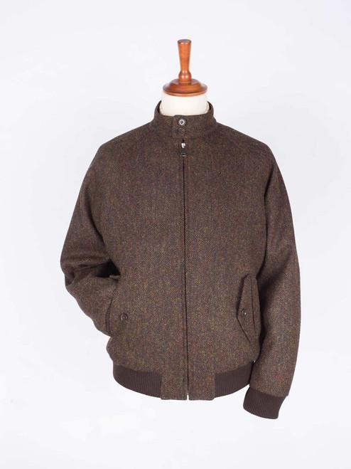 Image of Bronze Brown Harris Tweed Harrington Jacket