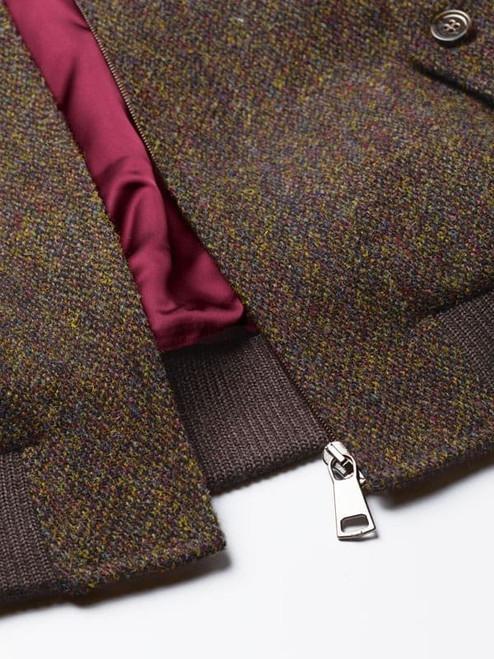 Close Up of Bronze Brown Harris Tweed Harrington Jacket Zip