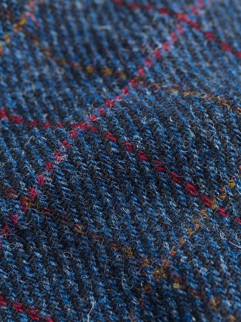 Fabric detail on Navy Harris Tweed Harrington Jacket