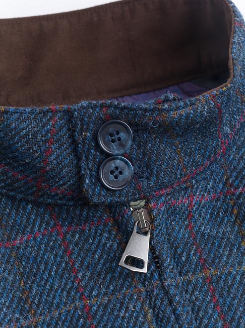 Button Collar on Navy Harris Tweed Harrington Jacket