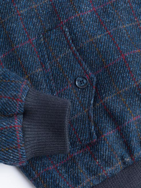 Ribbed cuff on Navy Harris Tweed Harrington Jacket