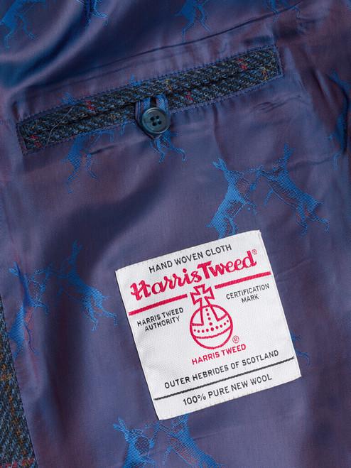 Harris Tweed Orb on Navy Harris Tweed Harrington Jacket