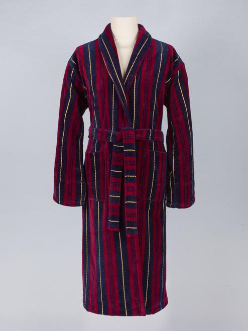 Military Stripe Velour Robe - Mens Dressing Gown