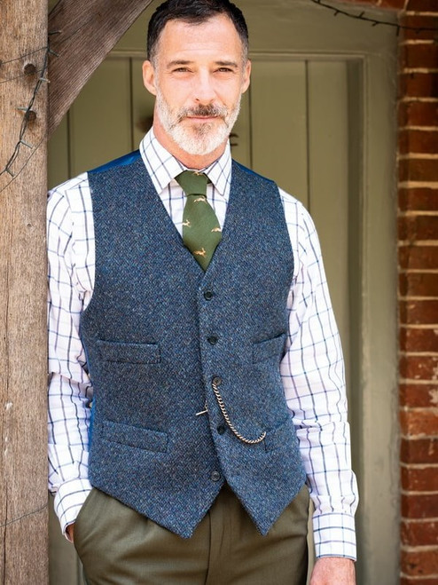 Model Wearing Blue Harris Tweed Waistcoat Fabric
