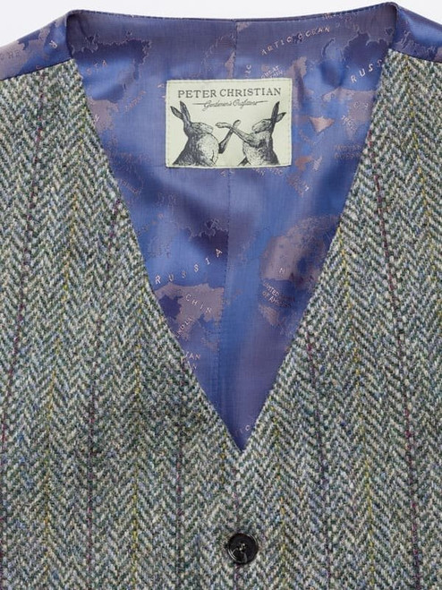 Close Up of Lovat Green Harris Tweed Waistcoat Fabric
