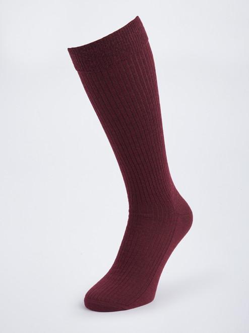 Burgundy HJ Knee High Wool Socks