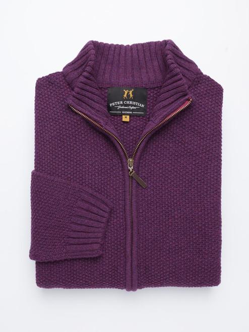 Soft Grape Lambswool Zip-Up Cardigan