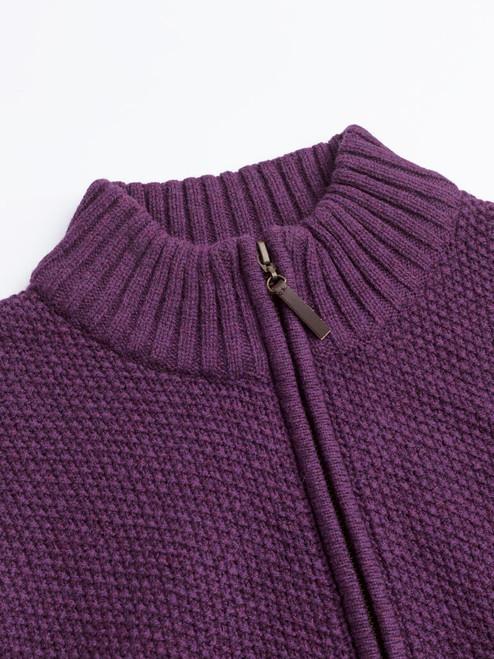 Collar on Grape Lambswool Zip-Up Cardigan