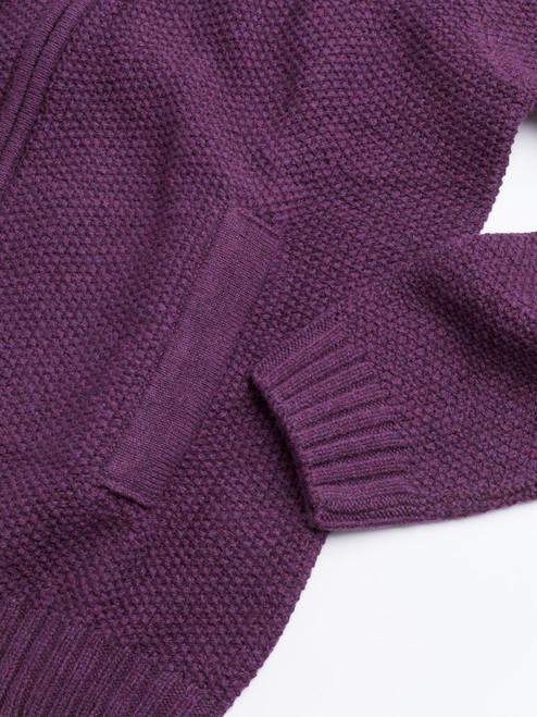 Ribbed cuff on Grape Lambswool Zip-Up Cardigan
