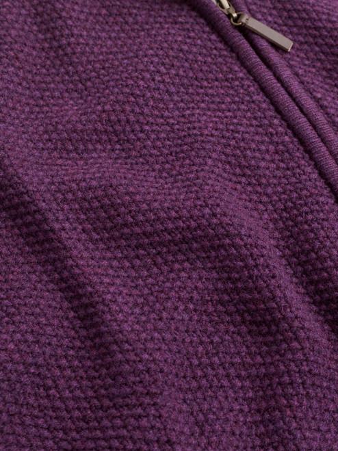 Waffle fabric on Grape Lambswool Zip-Up Cardigan