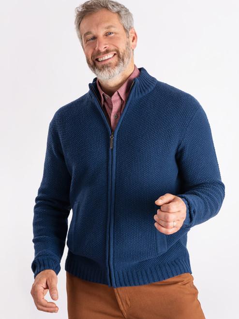 Model wears Navy Lambswool Zip-Up Cardigan