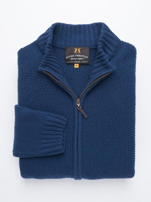 Soft Navy Lambswool Zip-Up Cardigan