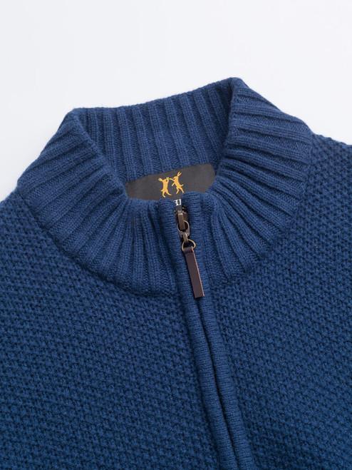 Collar of Navy Lambswool Zip-Up Cardigan