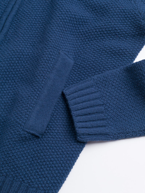 Ribbed cuff of Navy Lambswool Zip-Up Cardigan