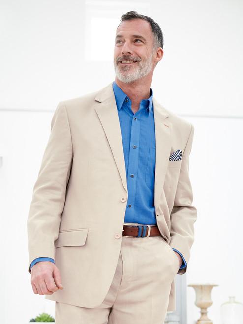 Model Wears Natural Linen Jacket