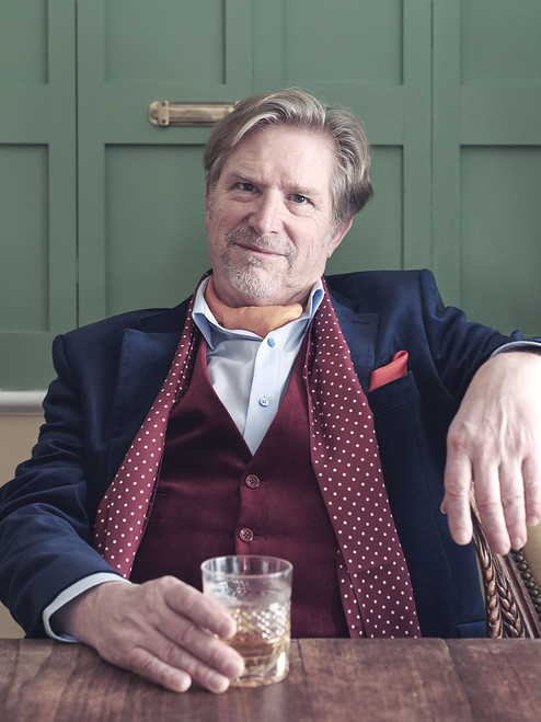 Image of Lord Trousers wearing a Navy Blue Velvet Jacket & Waistcoat