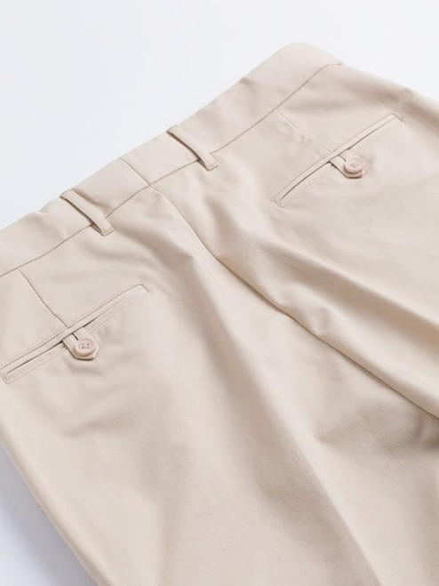 Two buttoned hip pockets on Stone Chino Suit