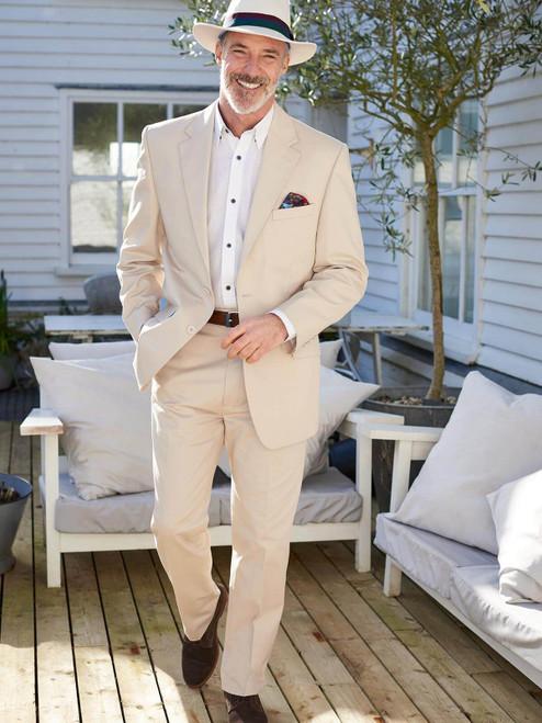 Model wears of Mens Cream Stone Chino Suit