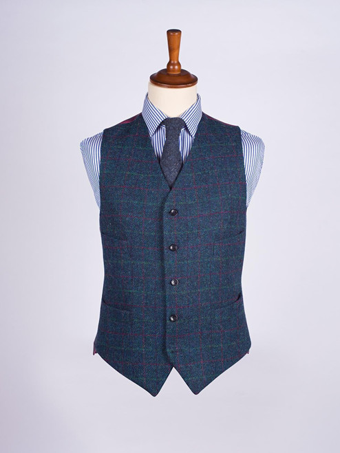 Image of Marine Blue Harris Tweed 3 Piece Suit Waistcoat