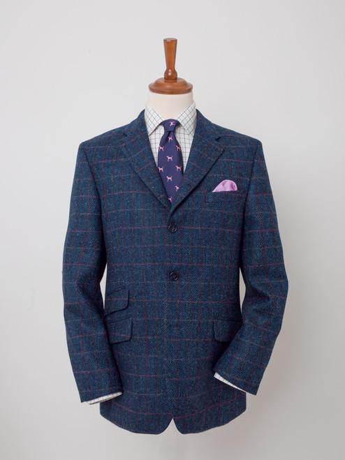 Image of Slate Blue Harris Tweed 3 Button Jacket