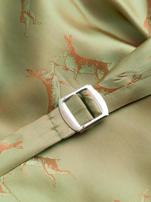 Close Up of Bracken Brown Harris Tweed Waistcoat Lining