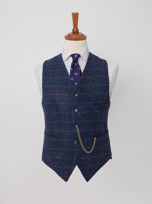 Image of Slate Blue Harris Tweed Waistcoat